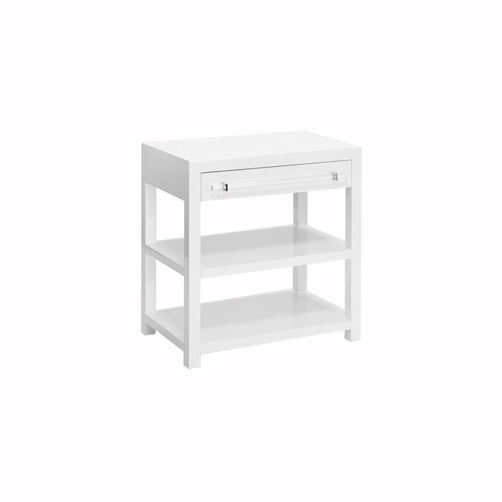 Garbo White Lacquer Side Table by Worlds Away | Fig Linens