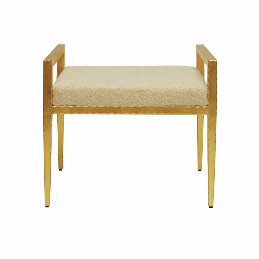Fig Linens - Emily Gold and Sherpa Stool by Worlds Away