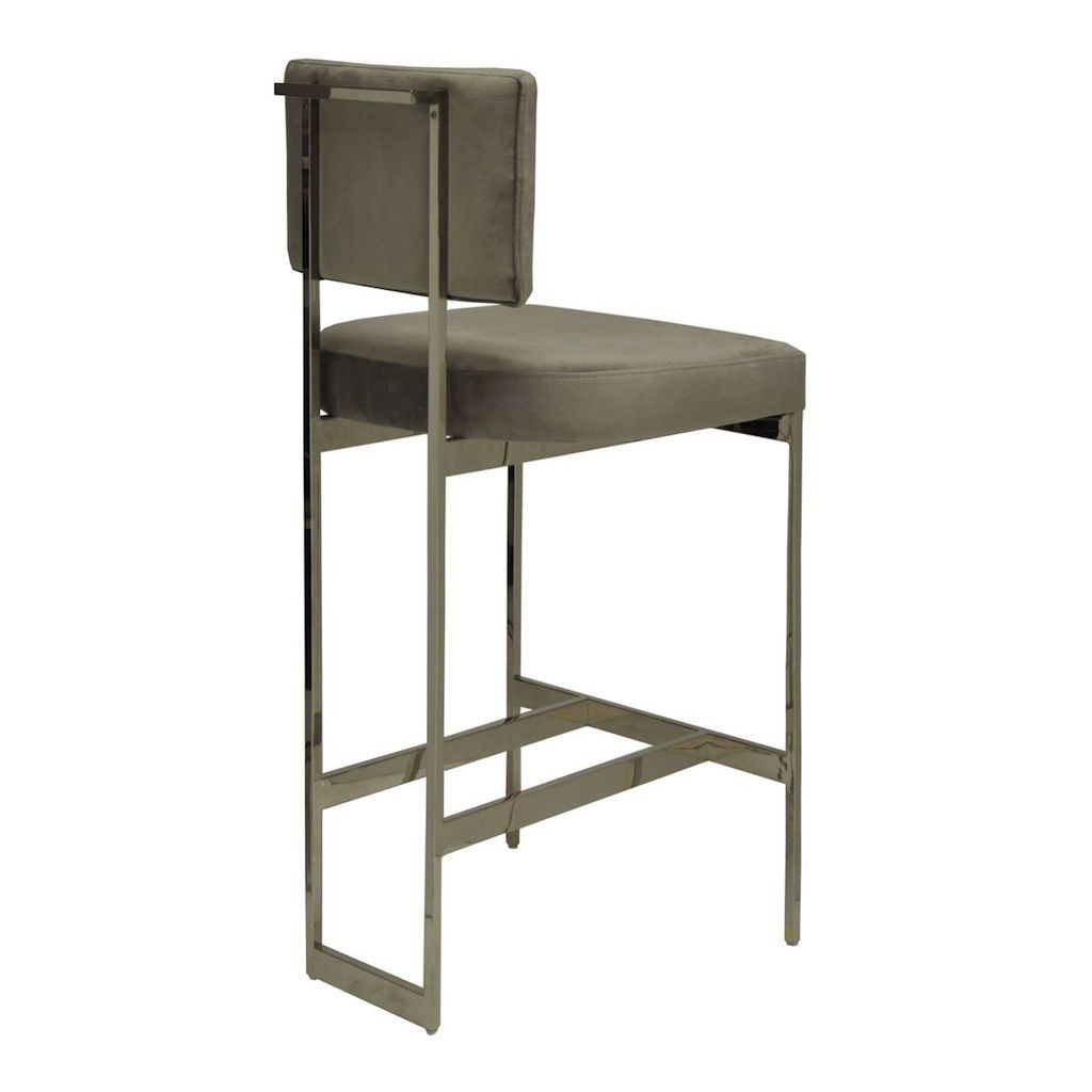 Fig Linens - Worlds Away - Jones Grey Velvet & Nickel Bar Stool - Back