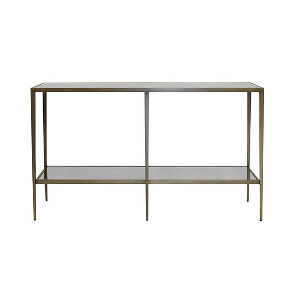 Elaine Bronze & Antique Mirror Console by Worlds Away | Fig Linens