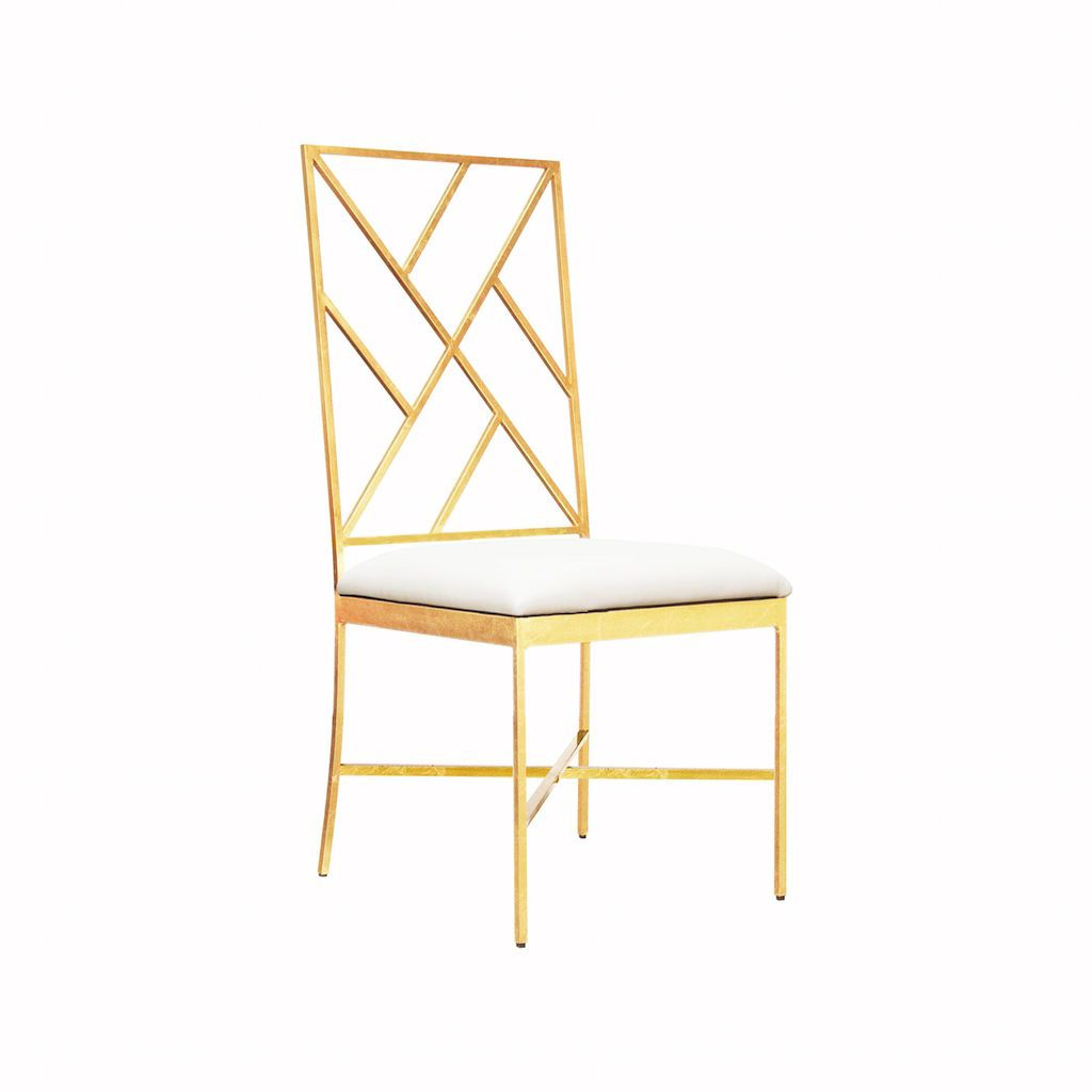 Ashton Gold & White Vinyl Chair by Worlds Away