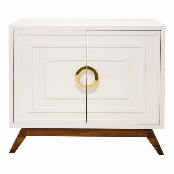 Worlds Away - Bernard White 2-Door Cabinet with Brass Hardware | Fig Linens