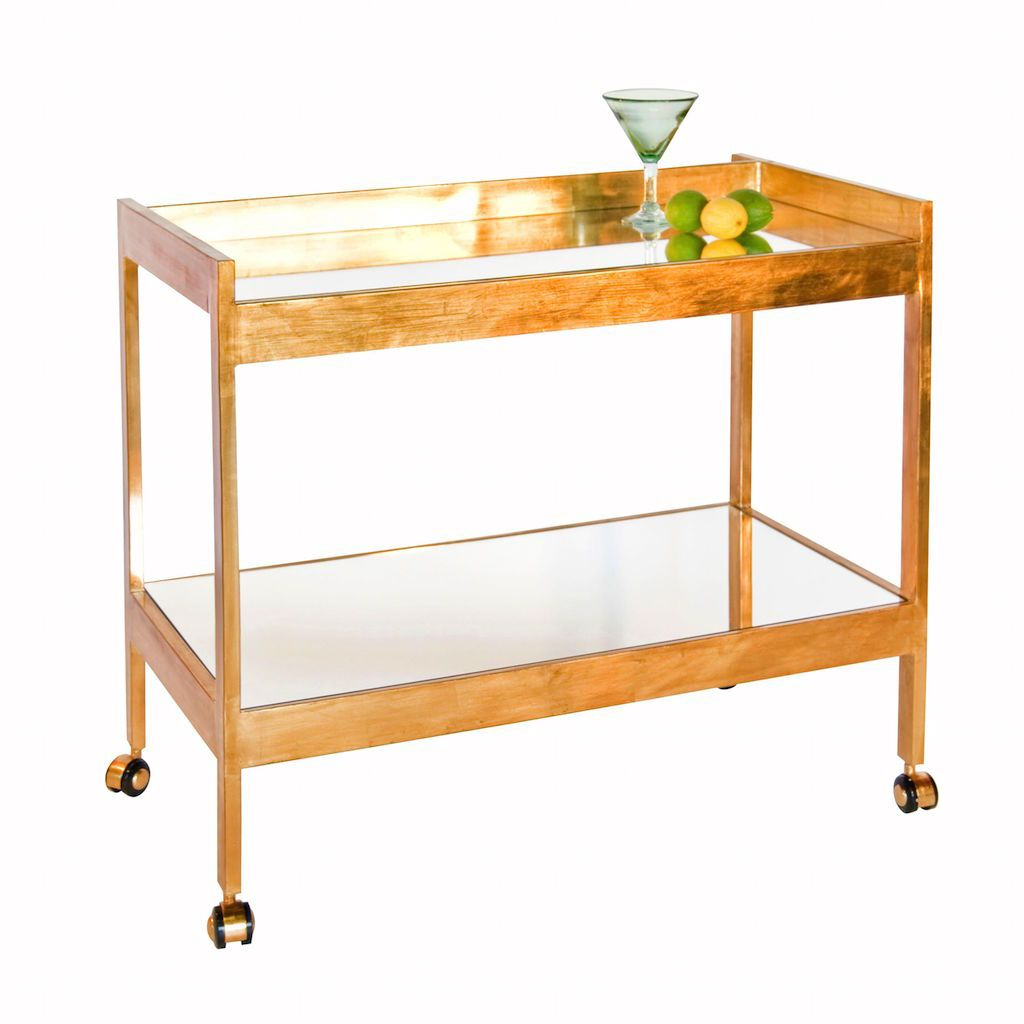 Worlds Away Roland Gold Bar Cart with Mirrored Top | Fig Linens