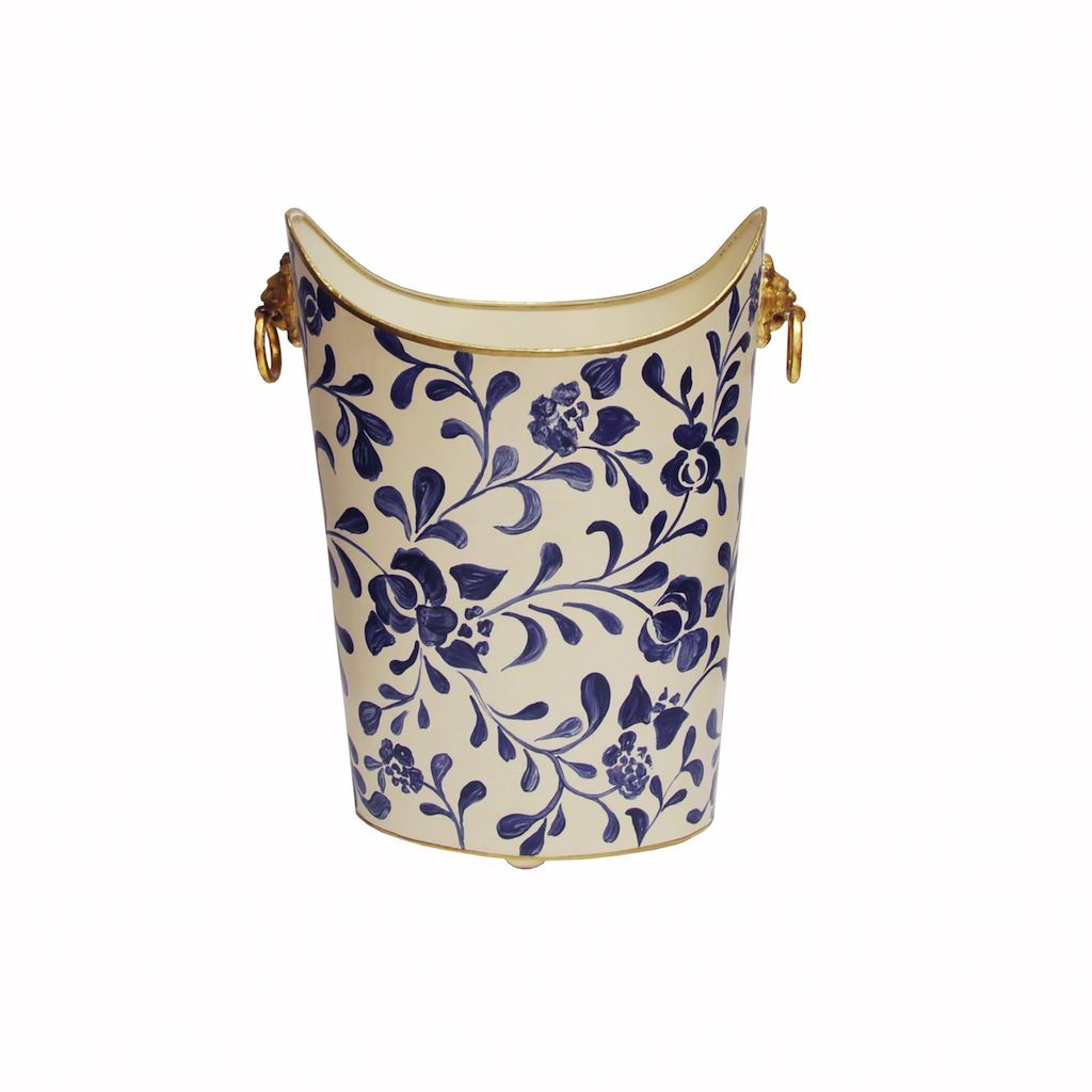 Fig Linens - Worlds Away - Navy & White Wastebasket with Lion Handles