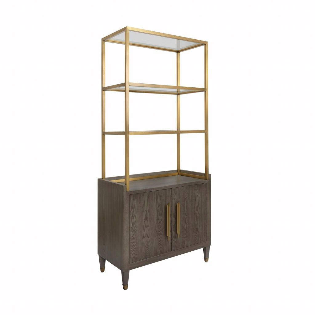 Rivaa Smoke Grey Etagere with Brass Frame & Glass Shelves