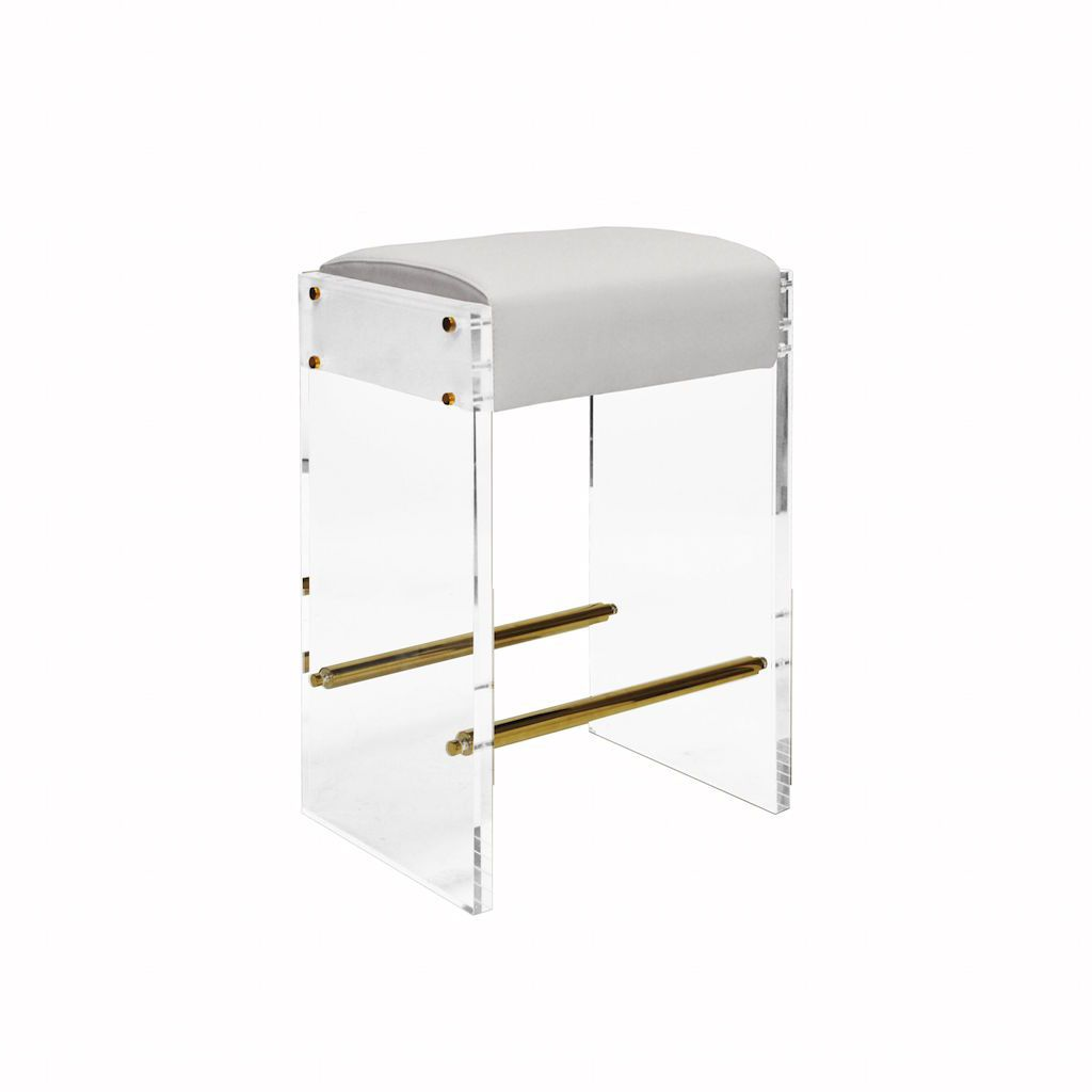 Indy Acrylic & White Vinyl Counter Stool by Worlds Away | Fig Linens