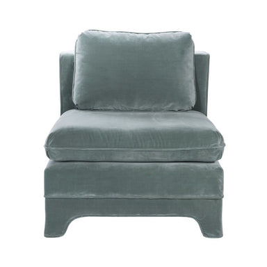 Ansonia Seafoam Velvet Slipper Chair by Worlds Away | Fig Linens