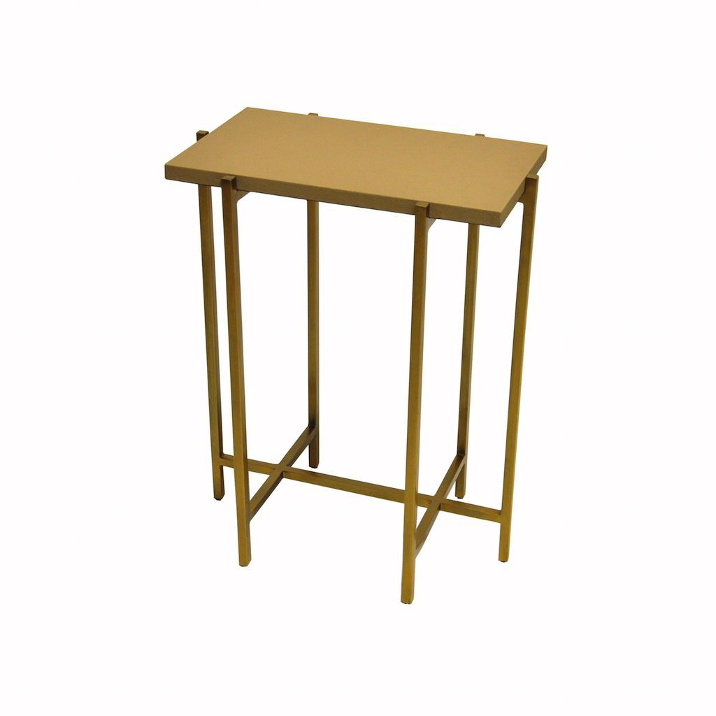 Worlds Away - Avni Antique Brass & Beige Shagreen Side Table | Fig Linens