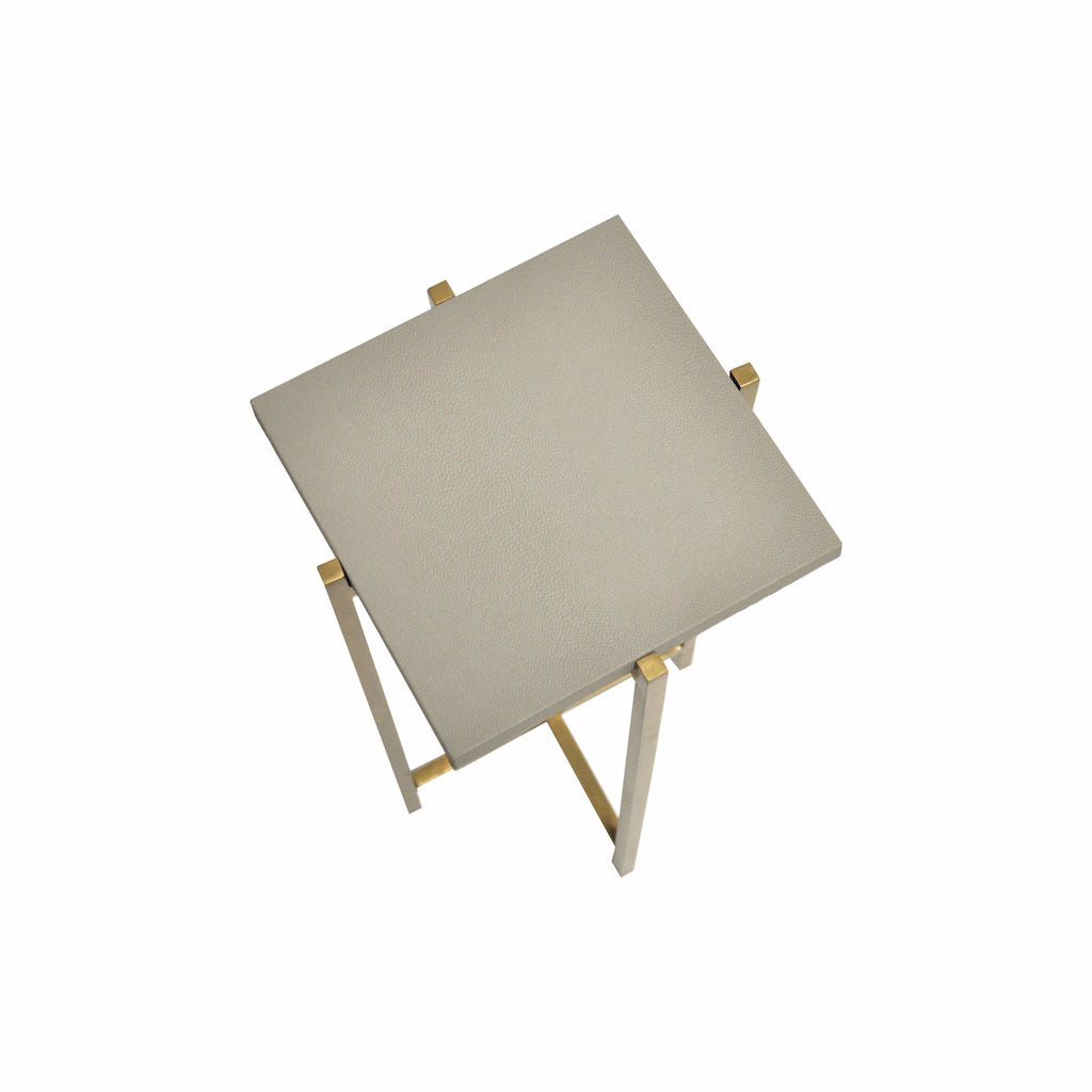 Worlds Away - Ollie Antique Brass & Dove Grey Shagreen Small Square Cigar Table | Fig Linens