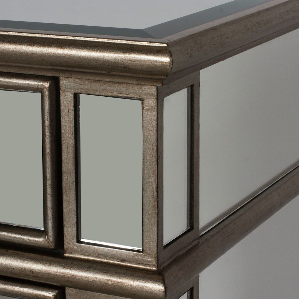 Fig Linens  - Worlds Away - Claudette Mirrored Side Table with Silver Edges - Details