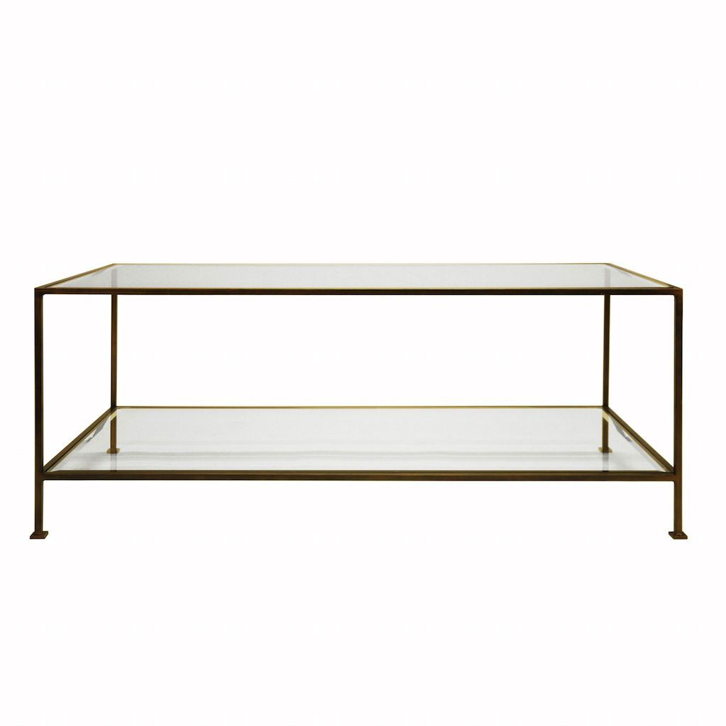Taylor Bronze & Glass Rectangular Coffee Table by Worlds Away | Fig Linens