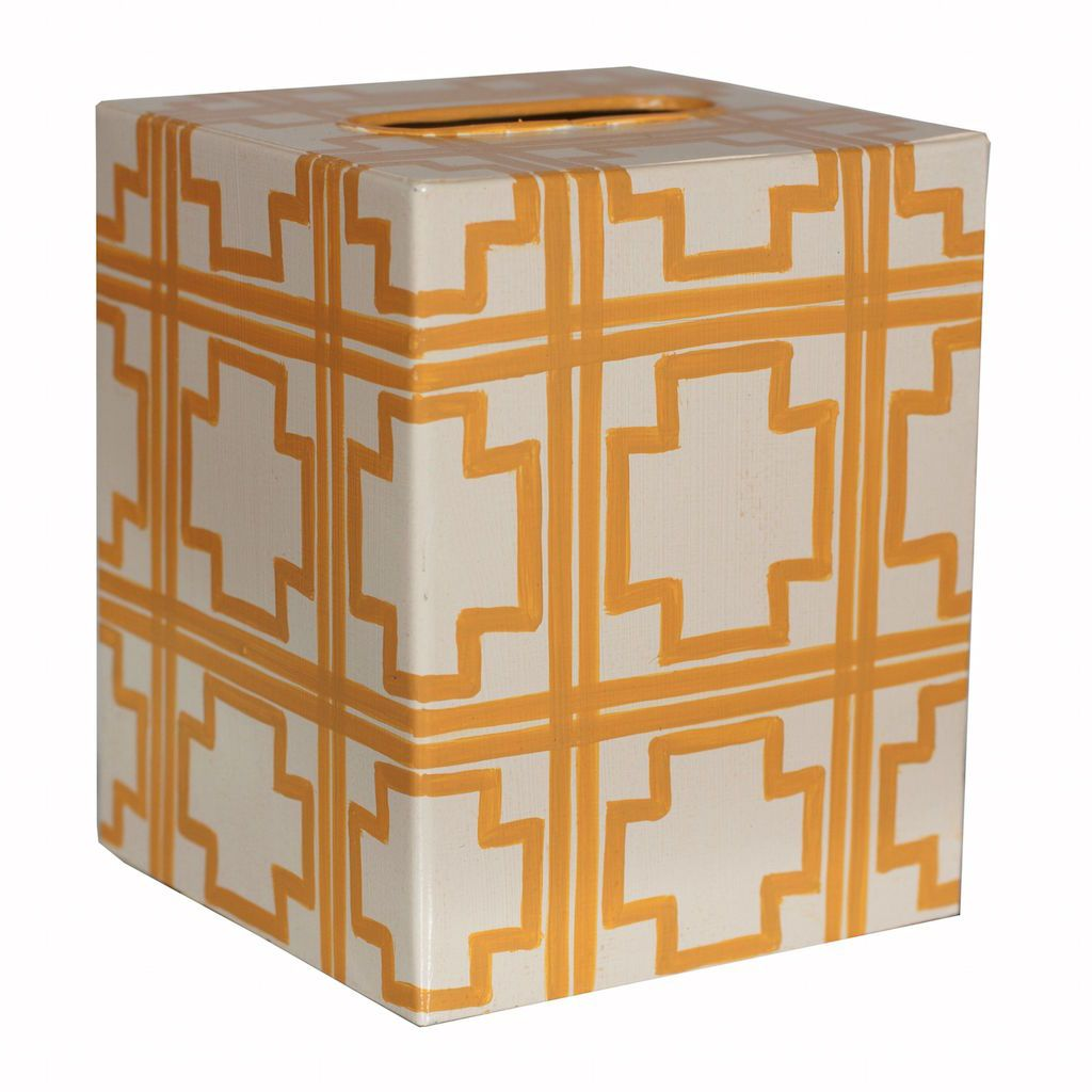 Cream & Yellow Tissue Box Cover by Worlds Away | Fig Linens