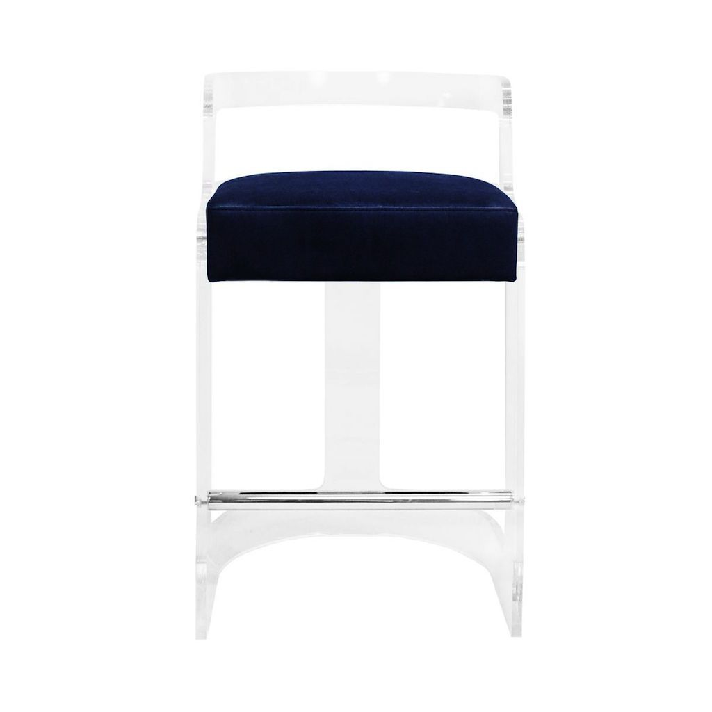 Worlds Away - Malone Acrylic Counter Stool with Navy Velvet Cushion | Fig Linens