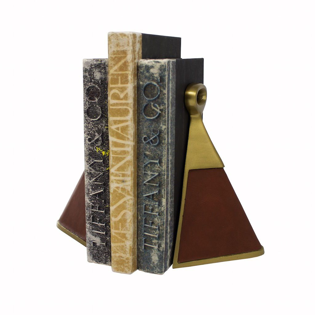 Hooper Antique Brass & Brown Faux Leather Bookends (Pair)