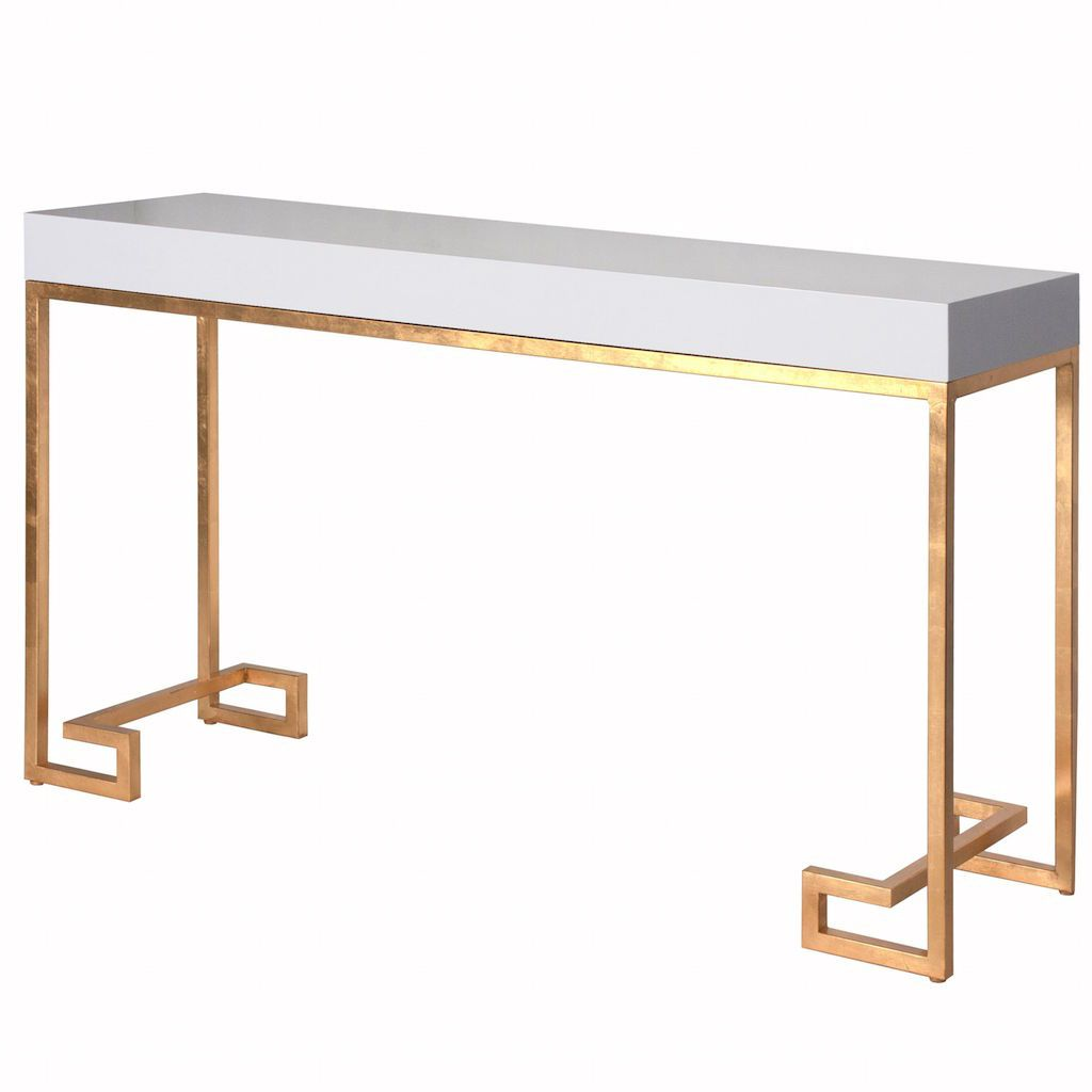 Barsanti White Console Table with Gold Base