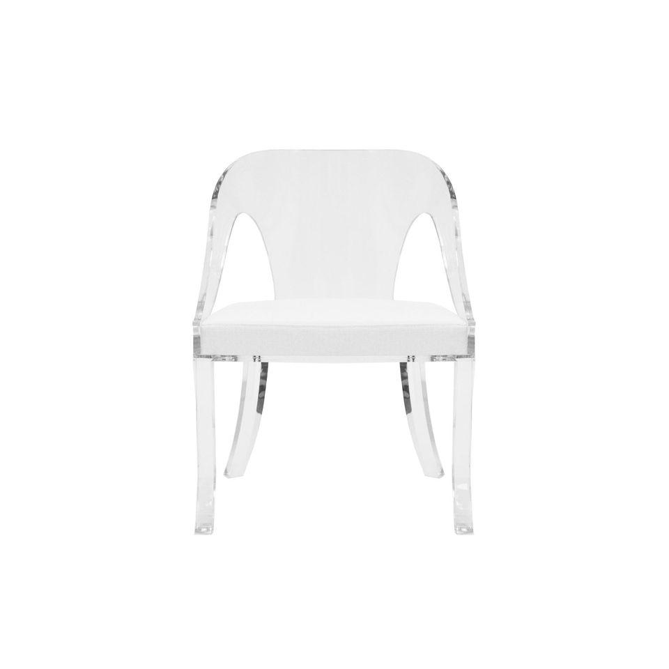 Jolie Acrylic Chair with White Cushion by Worlds Away | Fig Linens
