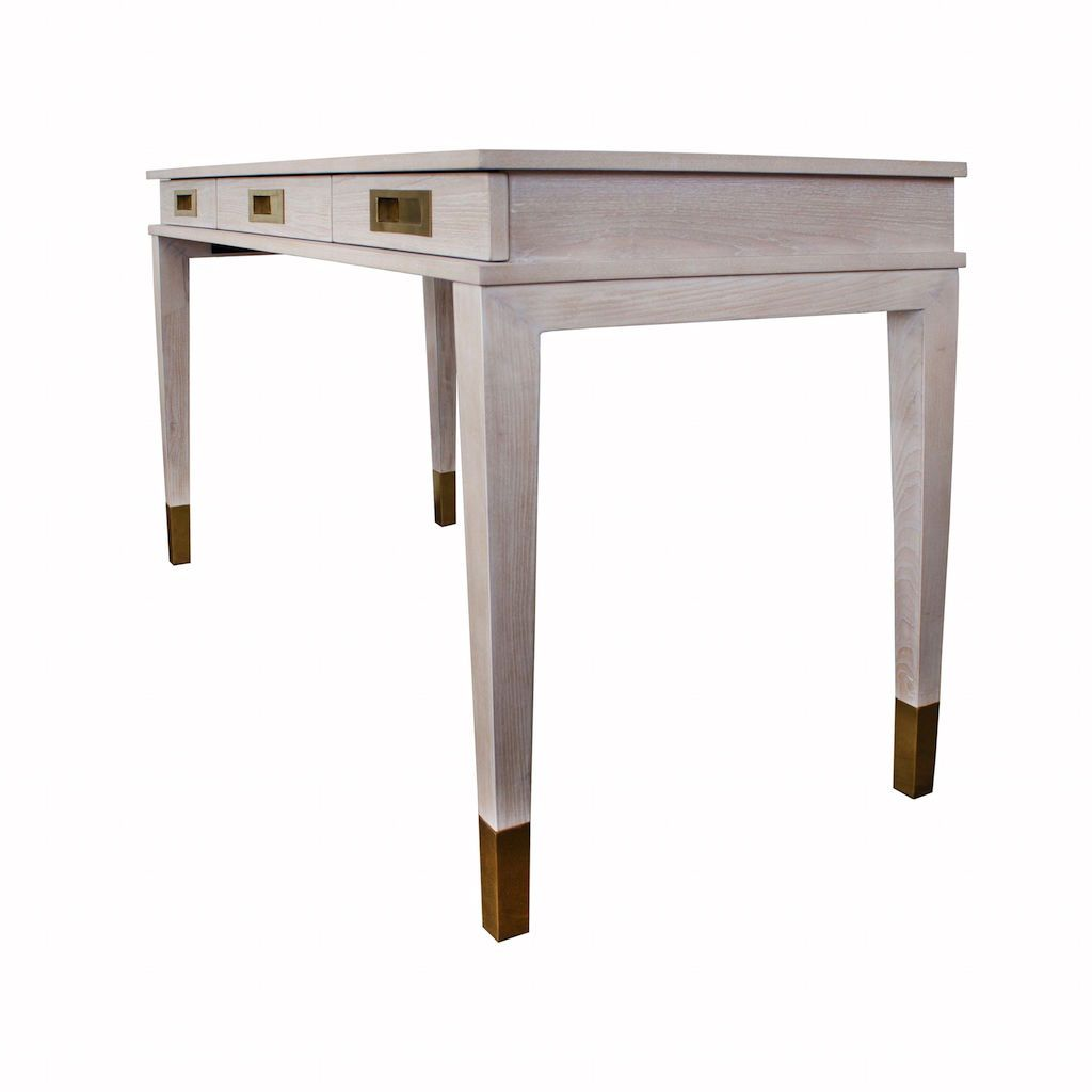 Fig Linens - Plato Cerused Oak & Brass 3 Drawer Desk by Worlds Away - Angle