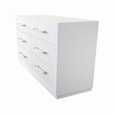 Fig Linens - Madden White 6 Drawer Chest by Worlds Away - Angle