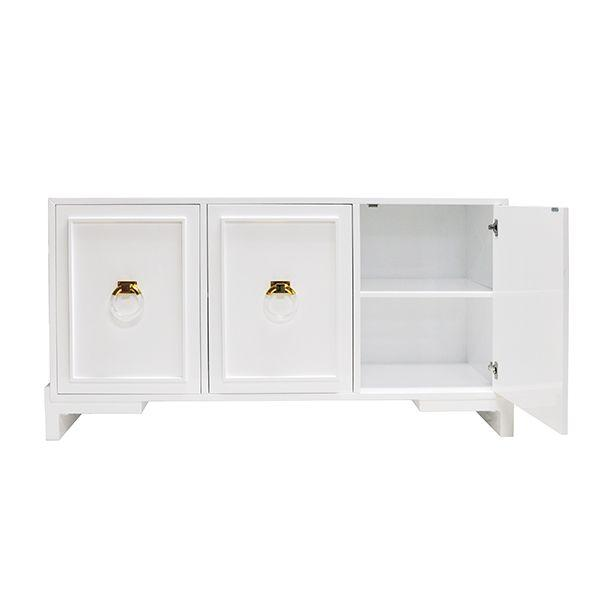 Worlds Away - Lyra White 3-Door Cabinet with Adjustable Shelves | Fig Linens and Home