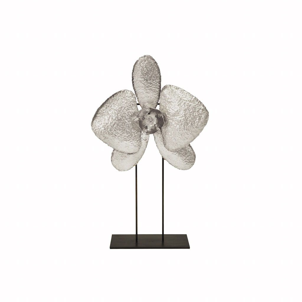 """20"""" Silver Leaf Orchid Sculpture by Worlds Away"""