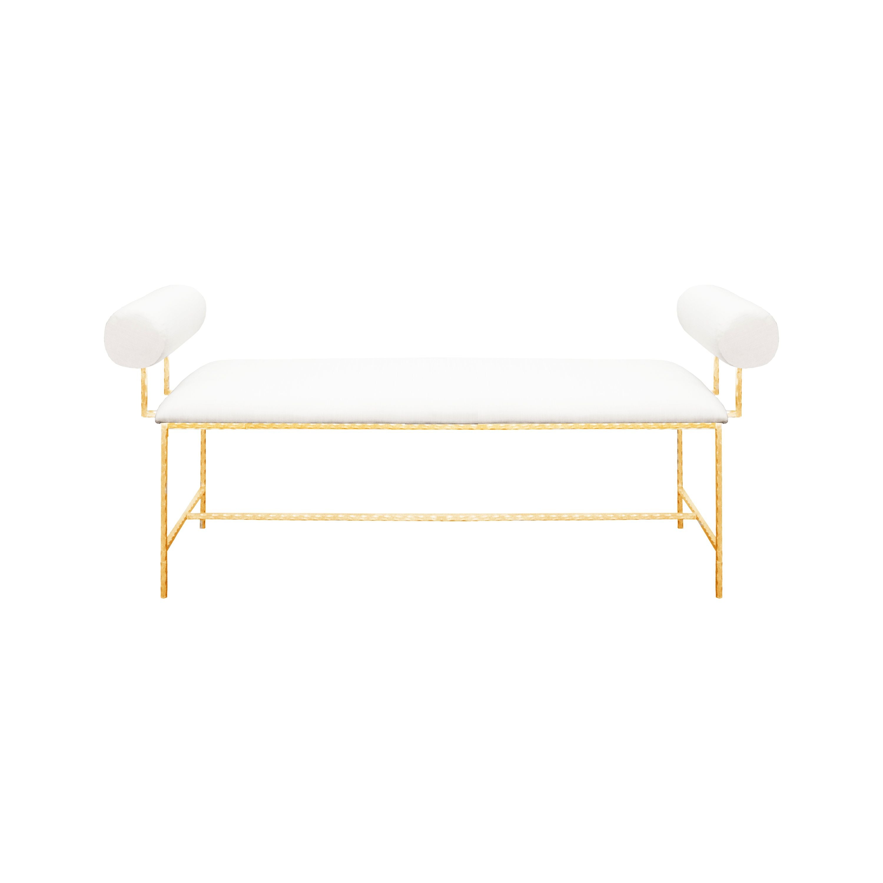 Miller White Linen & Gold Bench by Worlds Away