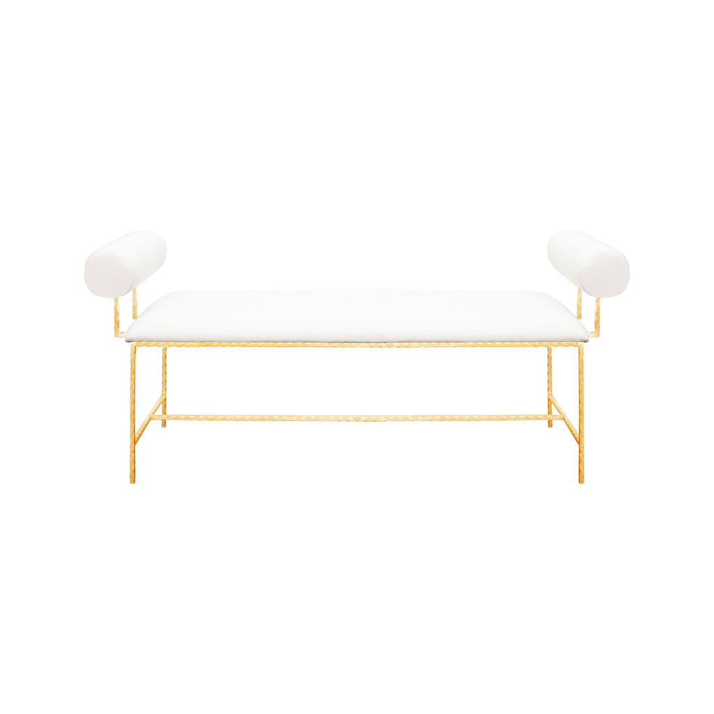 Miller White Linen & Gold Bench by Worlds Away | Fig Linens