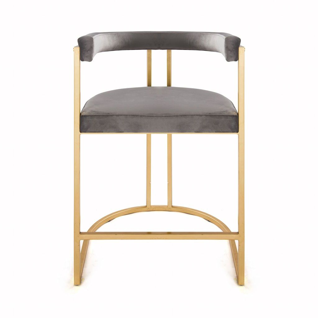 Worlds Away Cromwell Grey Velvet & Gold Counter Stool | Fig Linens