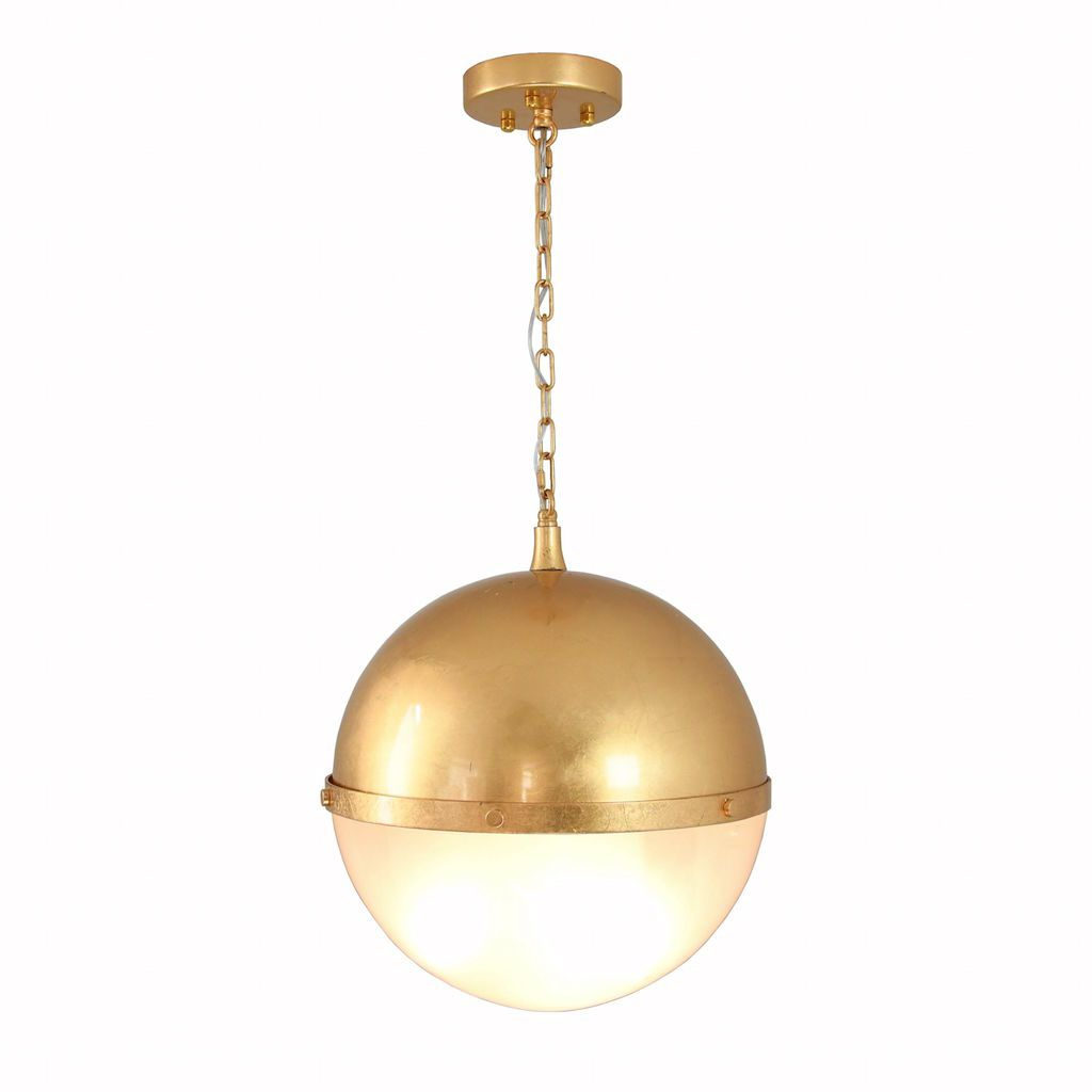 Worlds Away - Harpo Frosted Glass & Gold Globe Pendant | Fig Linens