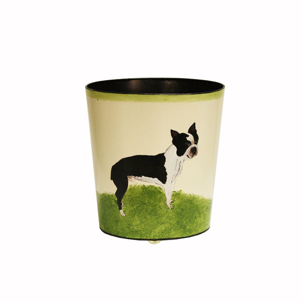 Boston Terrier Wastebasket by Worlds Away | Fig Linens and Home