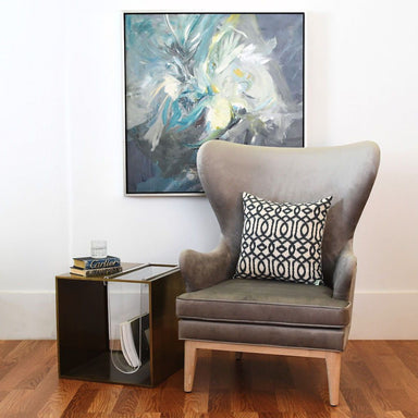 Fig Linens - Worlds Away - Frisco Grey Velvet Wing Chair with Cerused Oak Feet - Lifestyle