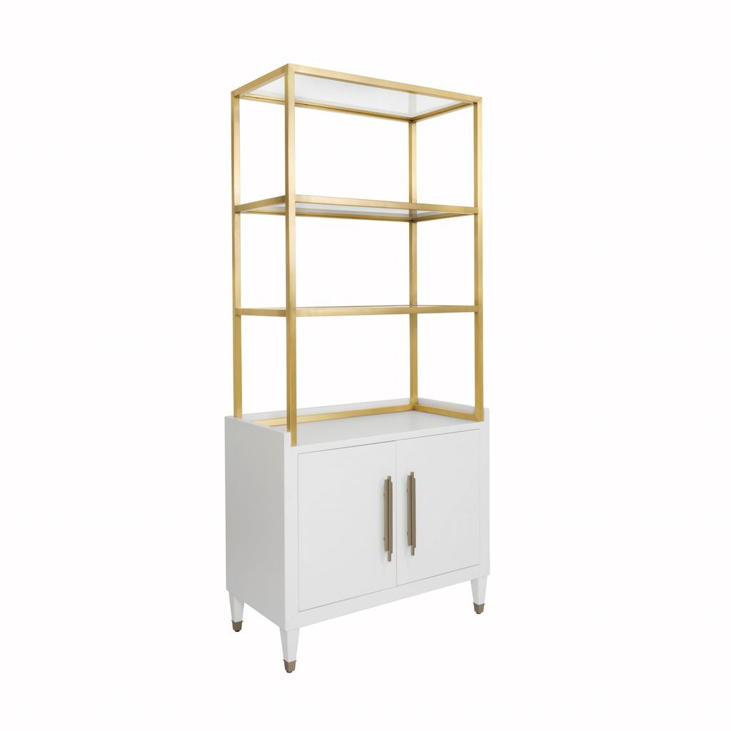 Rivaa White Etagere with Brass Frame & Glass Shelves