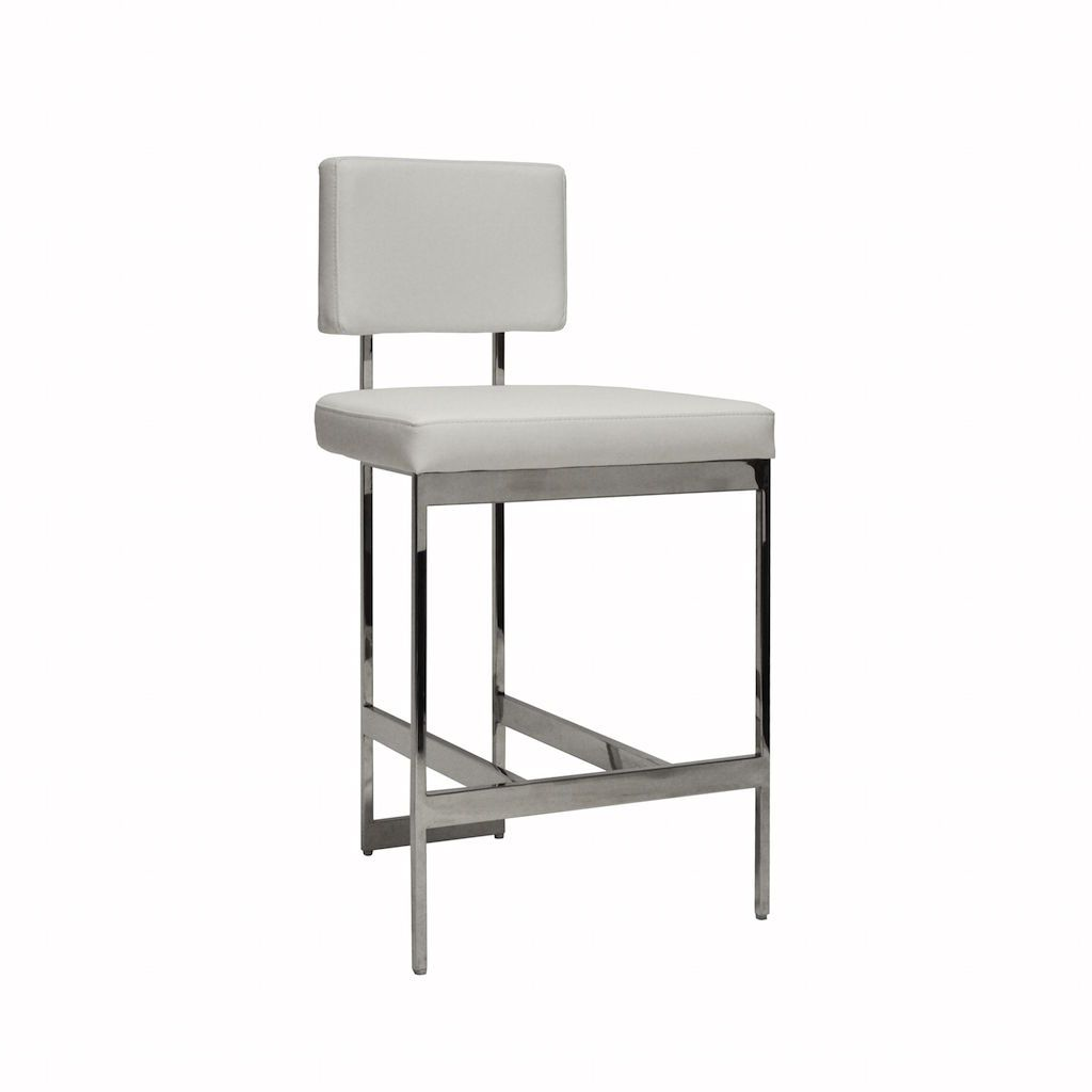 Baylor Nickel & White Vinyl Counter Stool by Worlds Away | Fig Linens