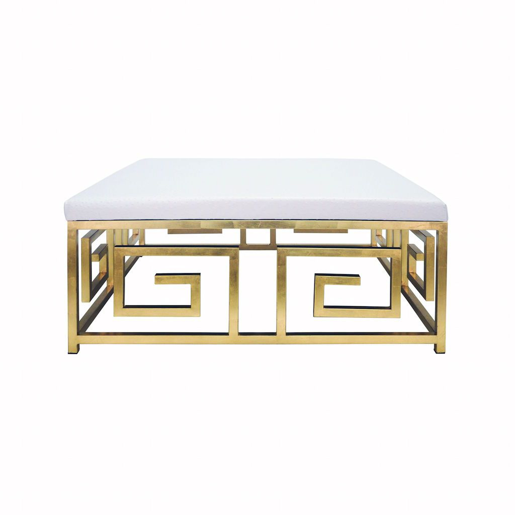 Fig Linens - Worlds Away - Eileen Gold Leaf & White Ostrich Ottoman - Front