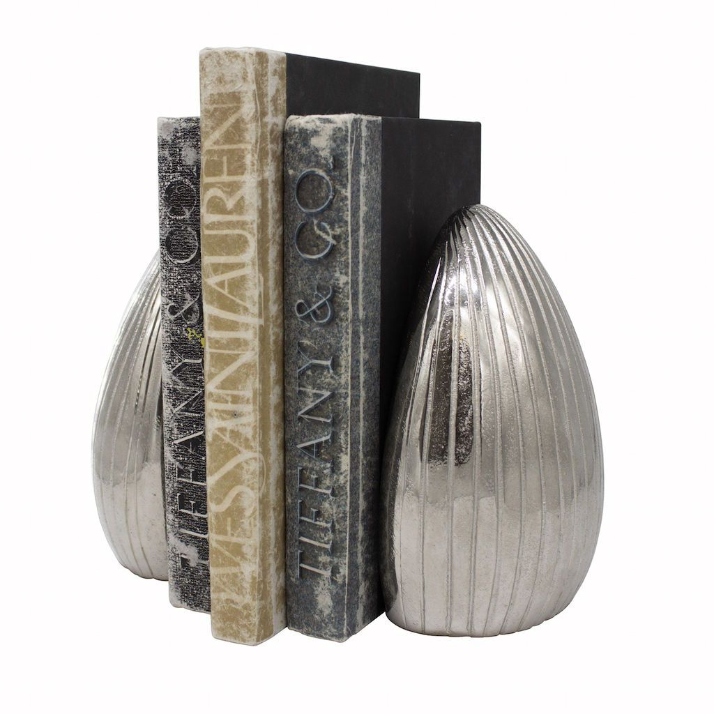 Gino Textured Antique Nickel Bookends (Pair)