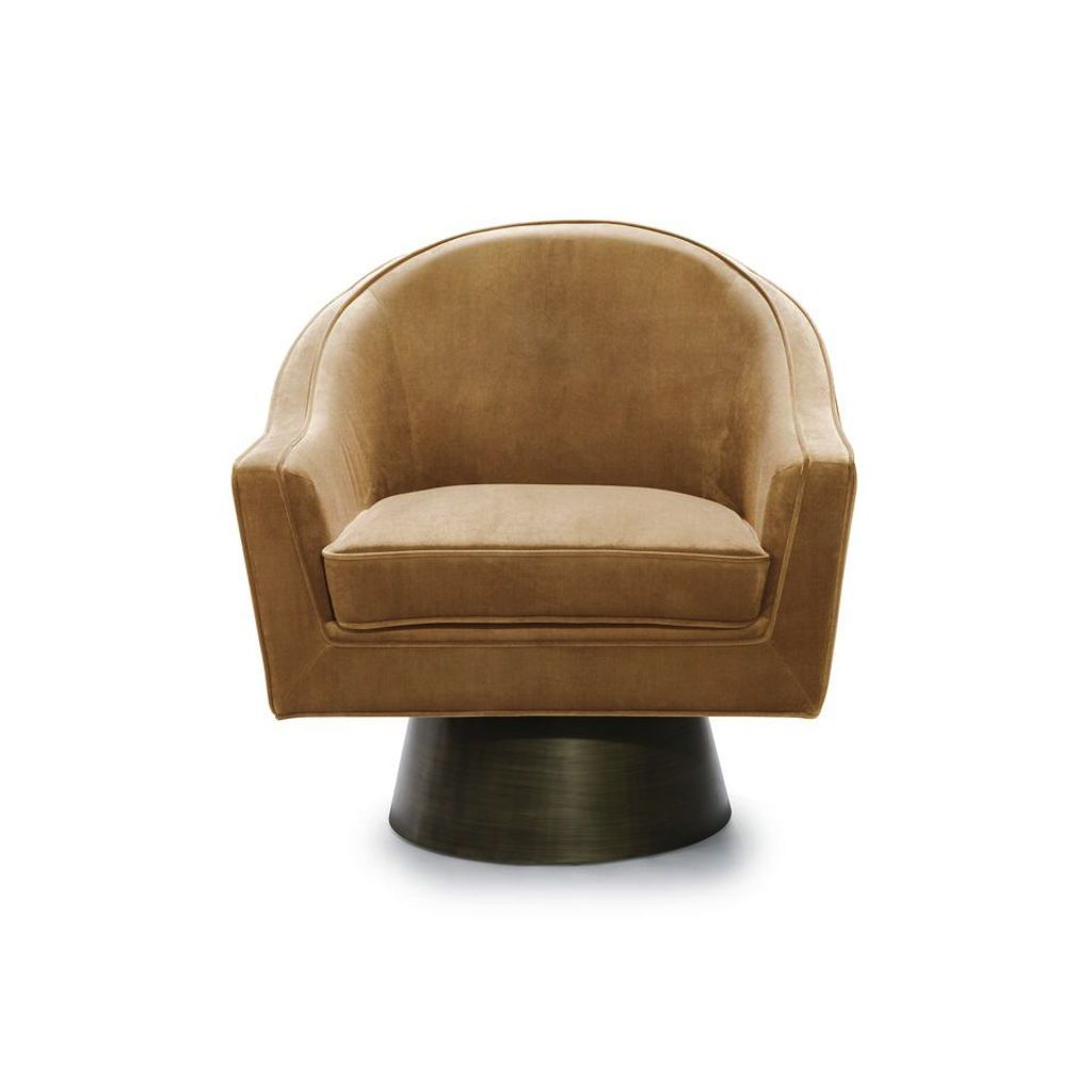 Fig Linens - Worlds Away - Dominic Camel Velvet & Bronze Swivel Chair - Front