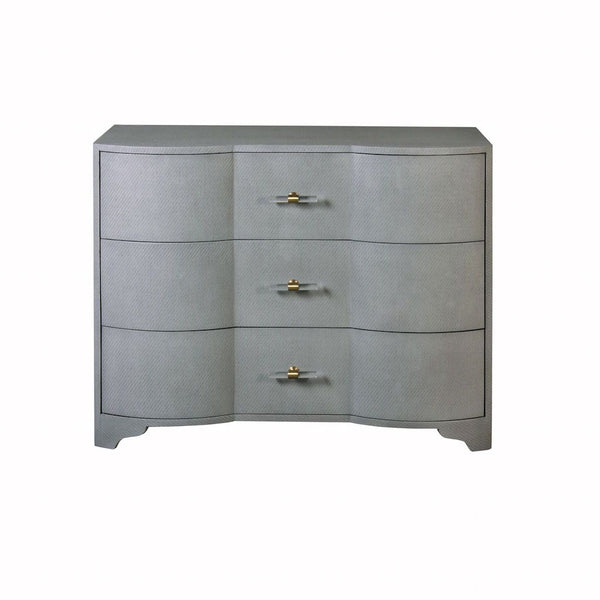 Plymouth Grey Grasscloth Drawer Chest by Worlds Away | Fig Linens