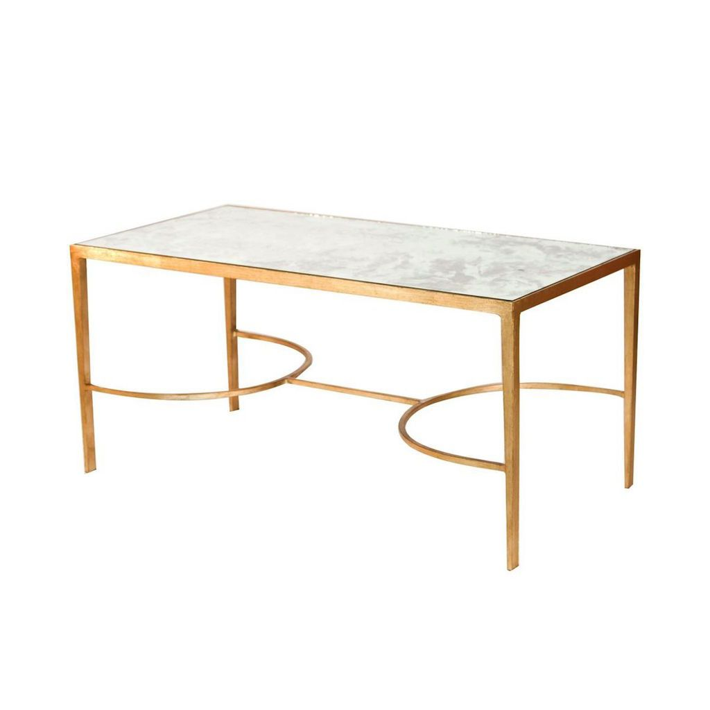 Gold Leaf & Antique Mirror Coffee Table by Worlds Away | Fig Linens