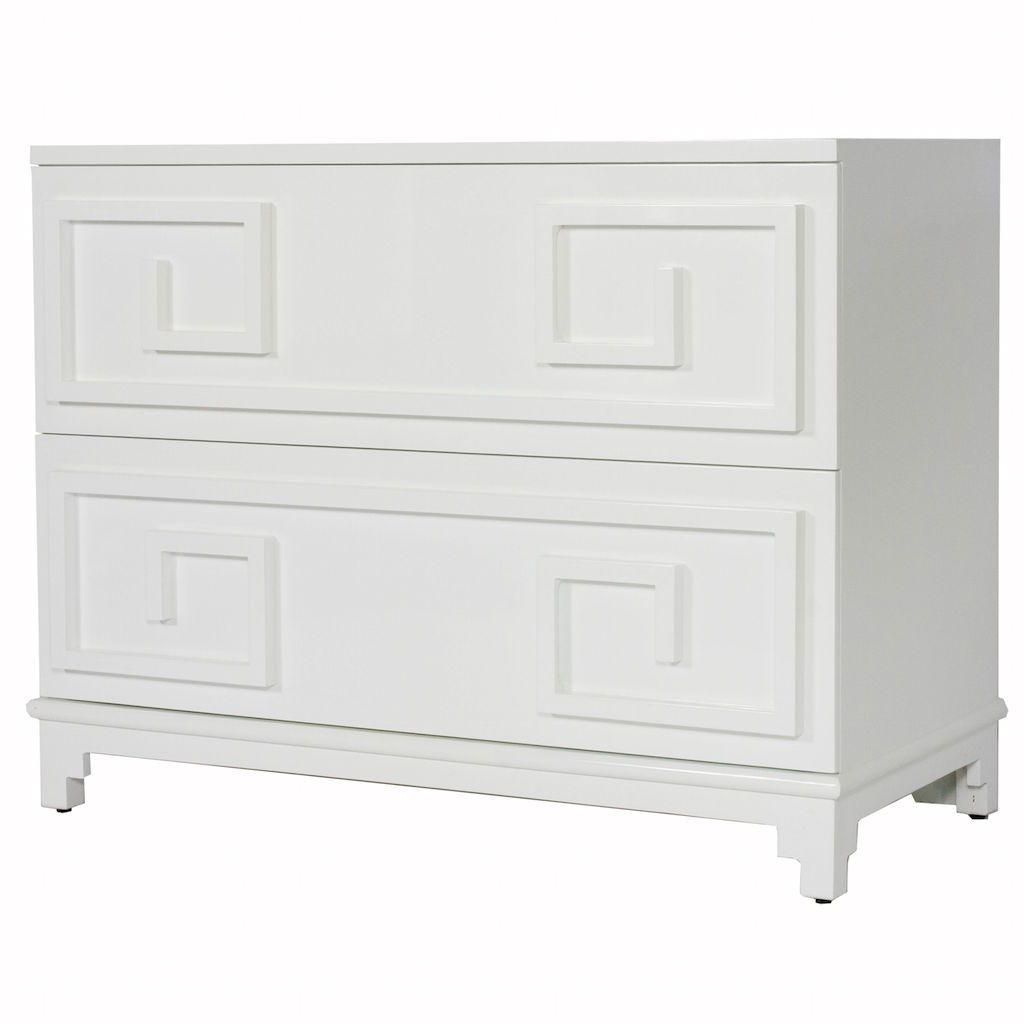Fig Linens - Wrenfield White Drawer Chest by Worlds Away - Angle