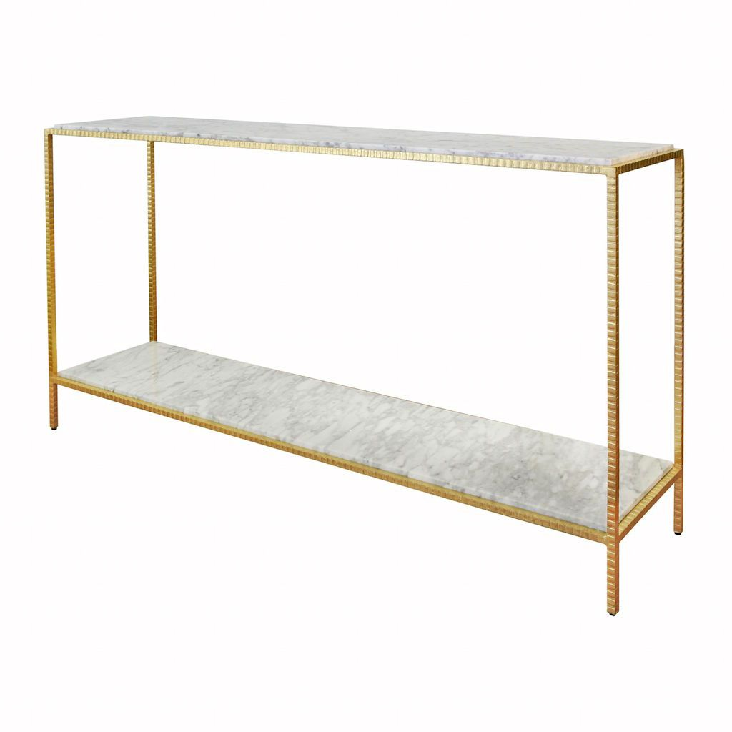 Agnes Large Gold Console with Marble Shelves