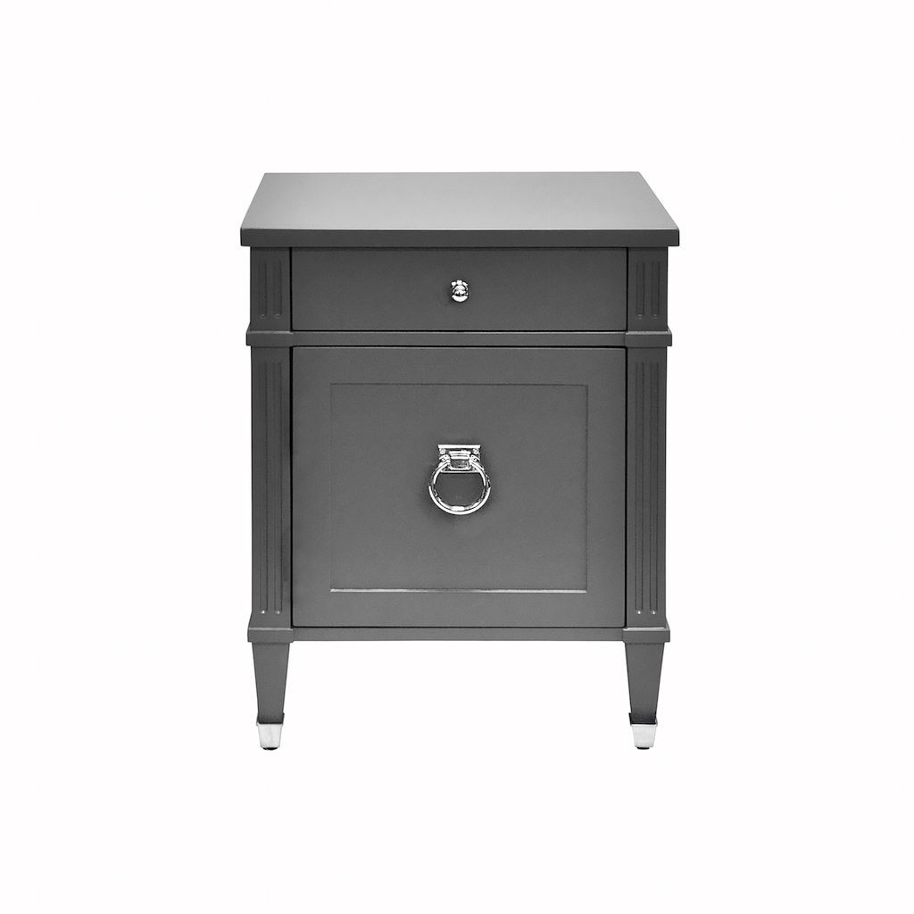 Lily Matte Dark Grey & Nickel Side Table by Worlds Away | Fig Linens