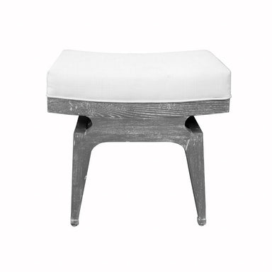 Worlds Away - Fergie Grey Cerused Oak & White Linen Stool | Fig Linens