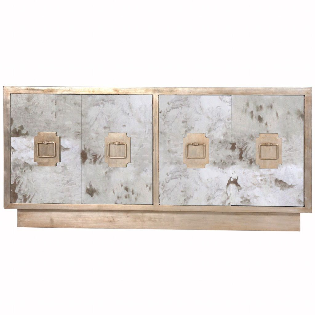 Ponti Silver Leaf & Antique Mirror Entertainment Console by Worlds Away| Fig Linens