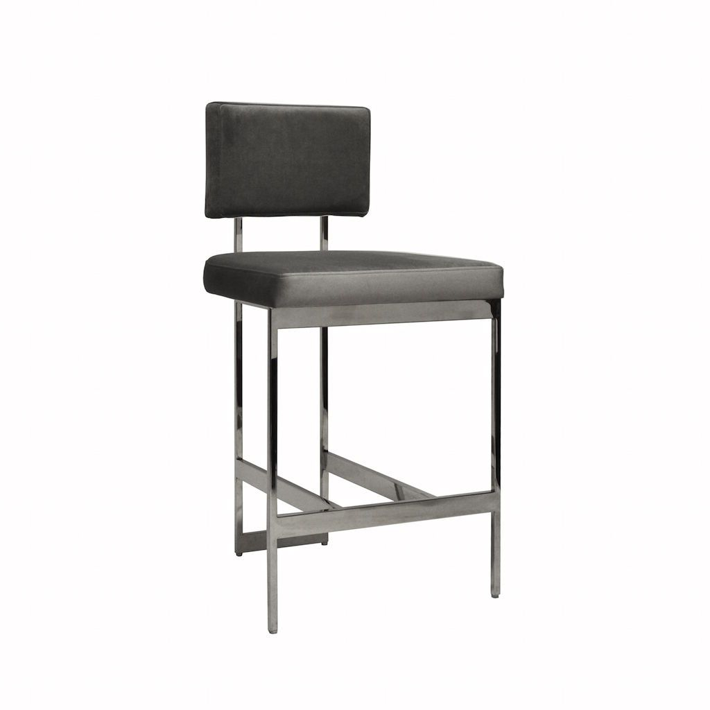 Baylor Nickel & Grey Velvet Counter Stool by Worlds Away | Fig Linens