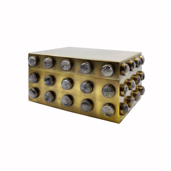 Worlds Away - Alba Small Brass & Resin Decorative Box | Fig Linens