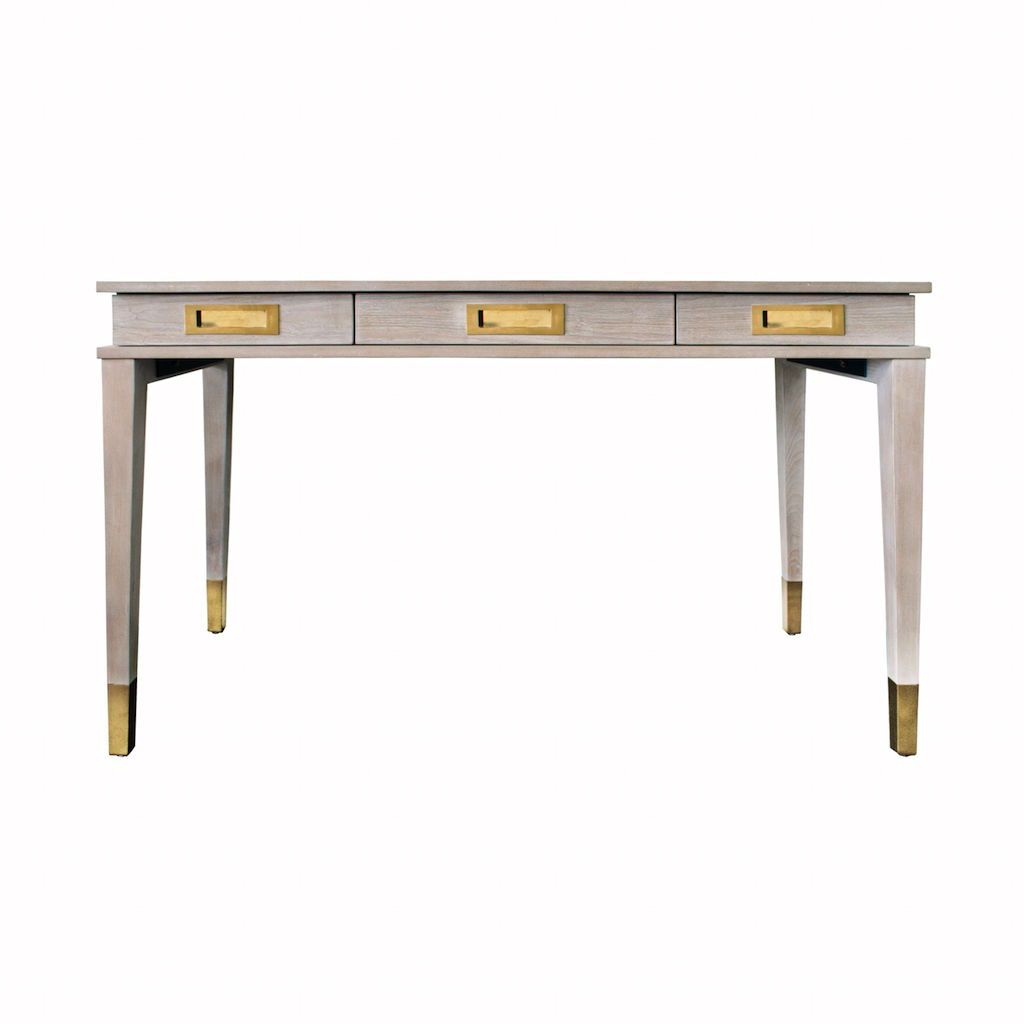 Plato Cerused Oak & Brass 3 Drawer Desk by Worlds Away | Fig Linens