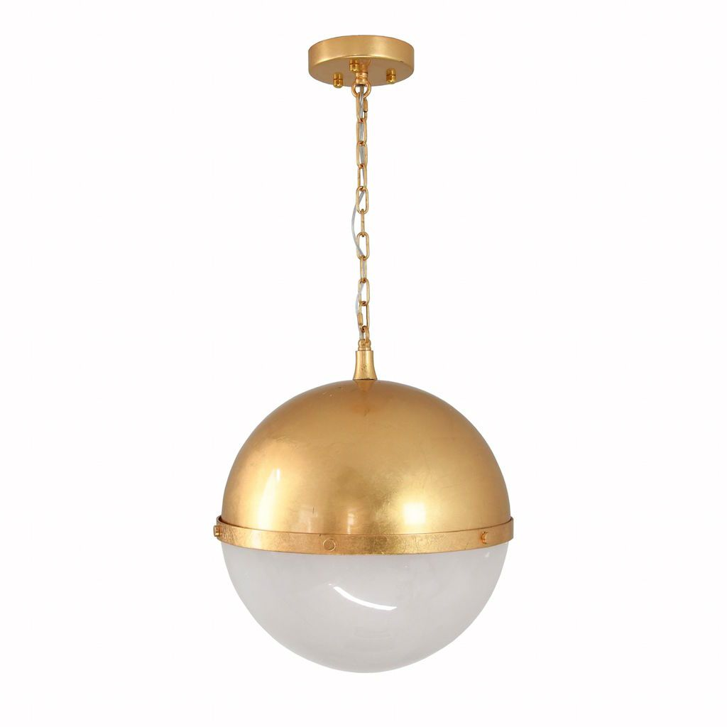 Fig Linens - Harpo Frosted Glass & Gold Globe Pendant by Worlds Away