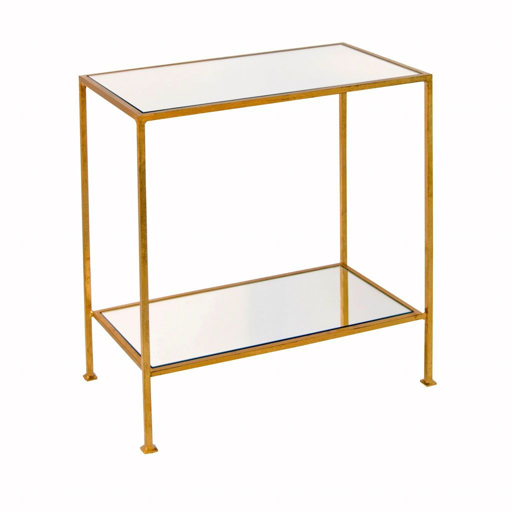 Plano 2-Tier Gold Side Table by Worlds Away | Fig Linens and Home