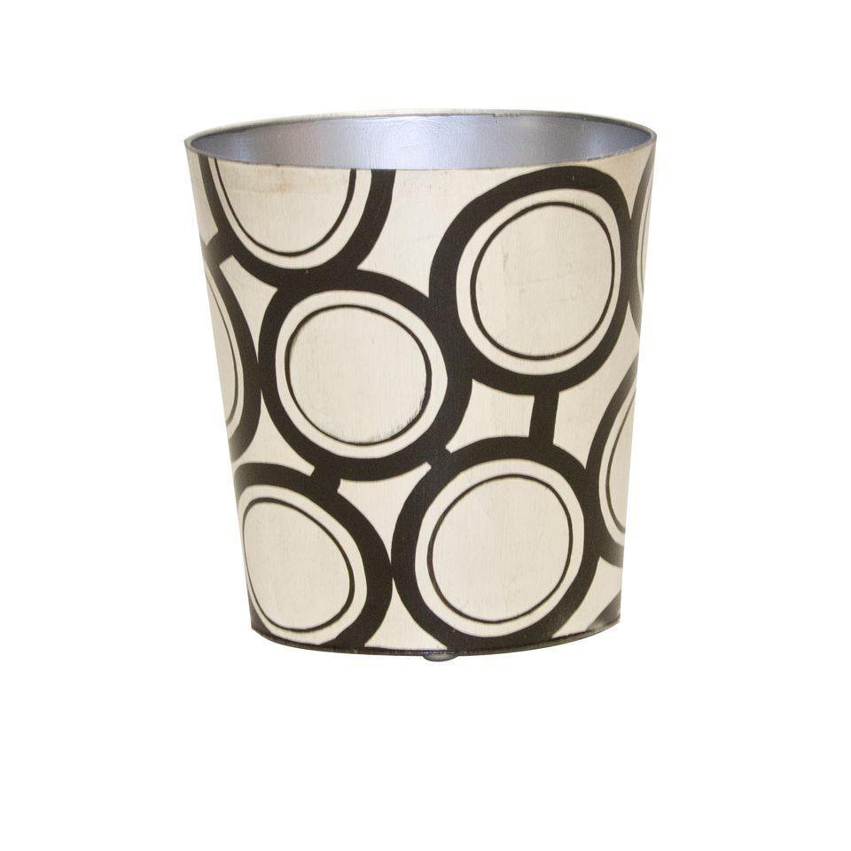 Black & Silver Oval Wastebasket by Worlds Away | Fig Linens