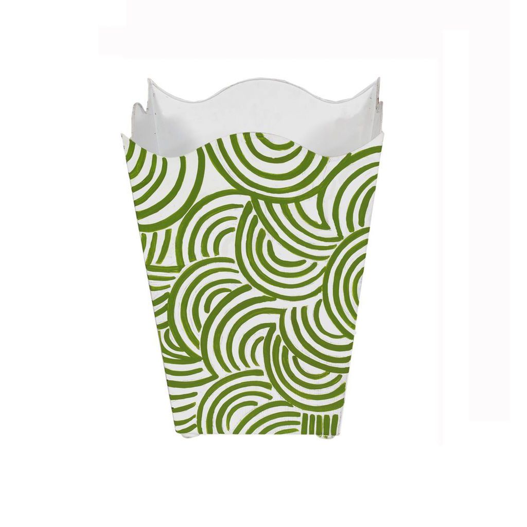Worlds Away - Green & White Square Wave Top Wastebasket | Fig Linens and Home