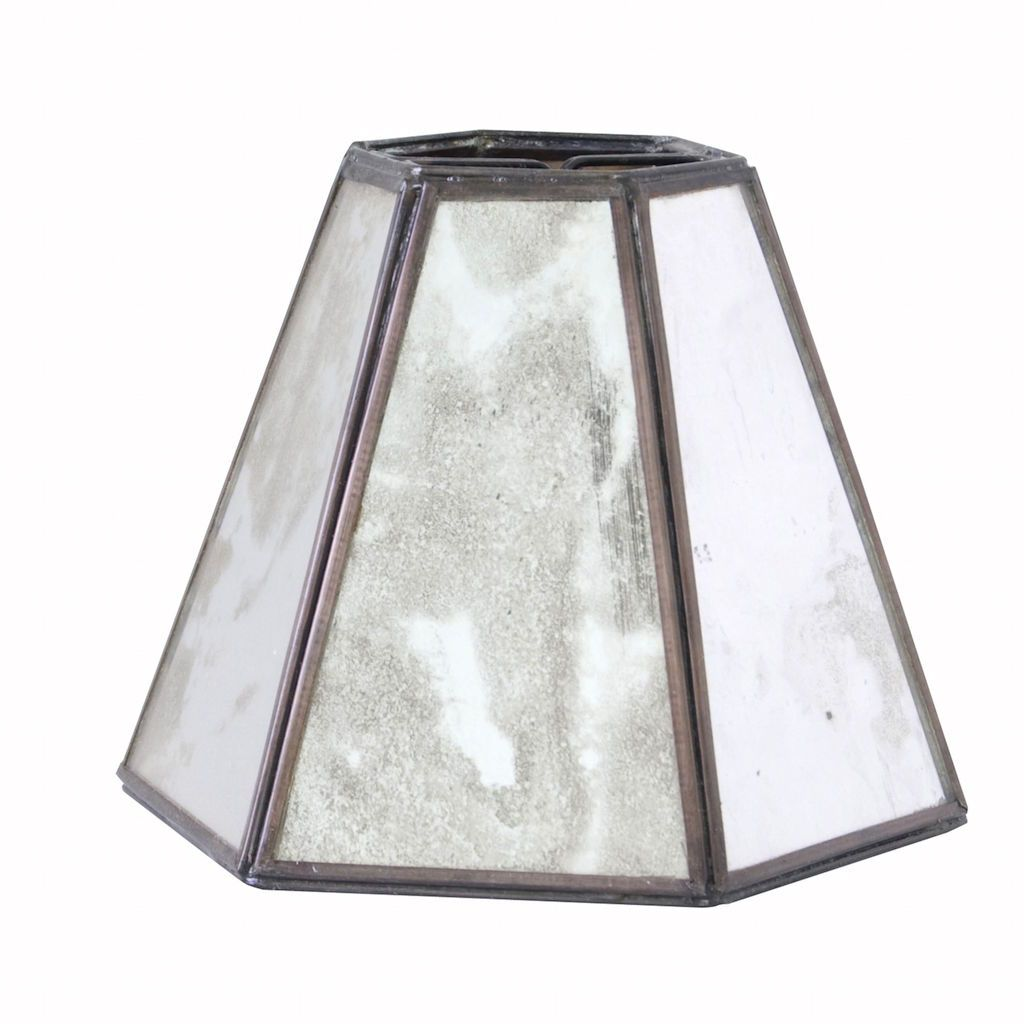 Worlds Away Antique Mirror Hexagonal Chandelier Shade | Fig Linens